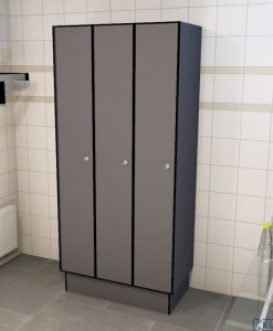 0075 1 TL 400 lockers 3 door solid grade laminate