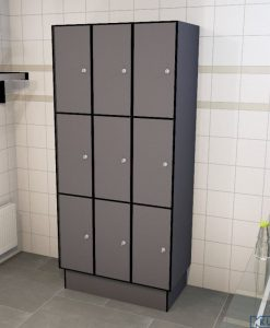 0075 3 TL 300 lockers 9 doors Solid Grade Laminate