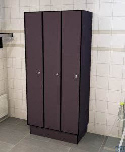 0077 1 TL 300 lockers 3 door solid grade laminate