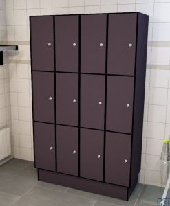 0077 3 TL 300 lockers 12 doors Solid Grade Laminate
