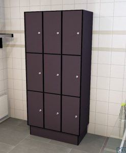 0077 3 TL 300 lockers 9 doors Solid Grade Laminate