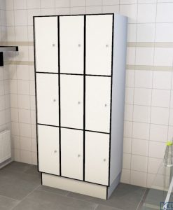 0085 3 TL 300 lockers 9 doors Solid Grade Laminate