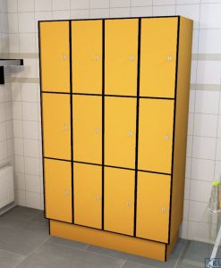 0095 3 TL 300 lockers 12 doors Solid Grade Laminate