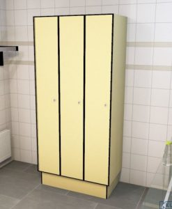 0687 1 TL 400 lockers 3 door solid grade laminate