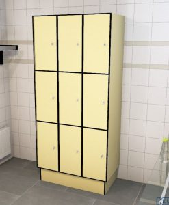 0687 3 TL 300 lockers 9 doors Solid Grade Laminate