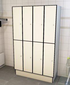 0733 2 TL 400 lockers 8 door solid grade laminate