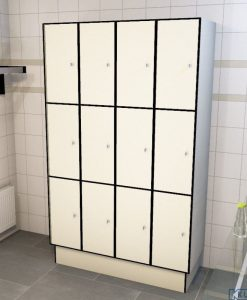 0733 3 TL 300 lockers 12 doors Solid Grade Laminate