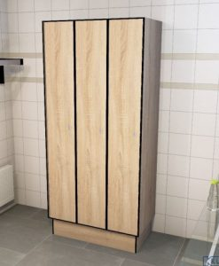 0877 1 TL 300 lockers 3 door solid grade laminate
