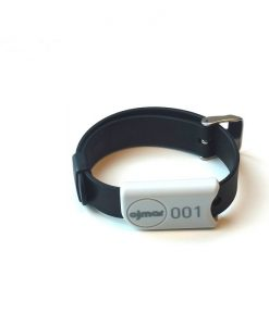 Black Ojmar wristband with stainless steel clasp