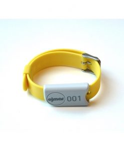 Yellow Ojmar wristband with stainless steel clasp